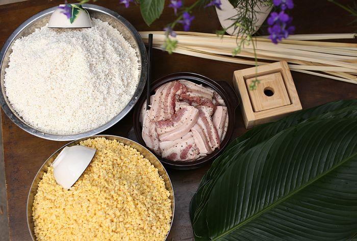 Nguyên liệu làm bánh chưng Hán-Nôm 餅蒸: