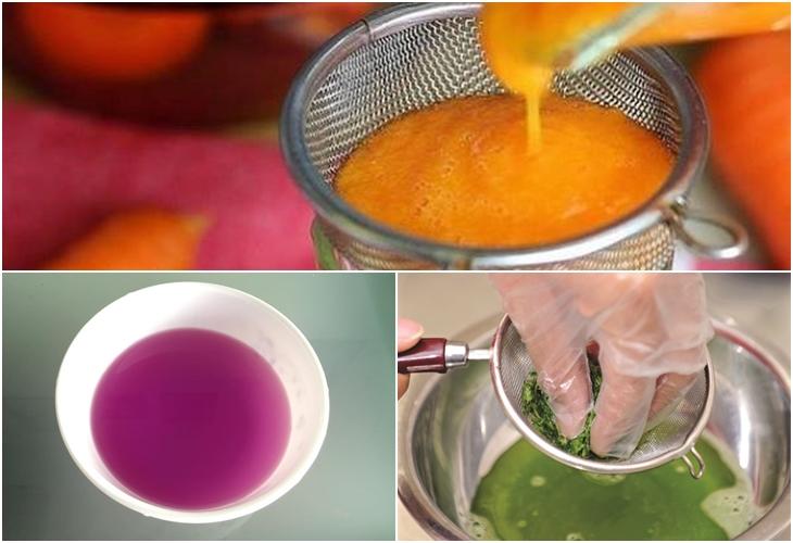 *** Hay có thể bất cứ mùi vị nào bạn ưa thích: như lá dứa cho màu xanh lá, hoa đậu biếc cho màu xanh dương, cà rốt cho màu cam hoặc màu tìm từ lá của lá cẩm,... có thể sử dụng màu thực phẩm nhưng không tốt cho sức khỏe
