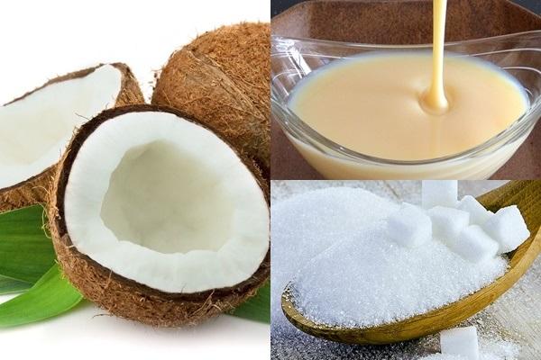 Cùi dừa bánh tẻ: 1kg Đường: 500 – 700g Sữa Ông Thọ: 1/2 lon Vani: 1 ống - không nên cho nhiều vani sẽ làm đắng món ăn bạn đang chế biến