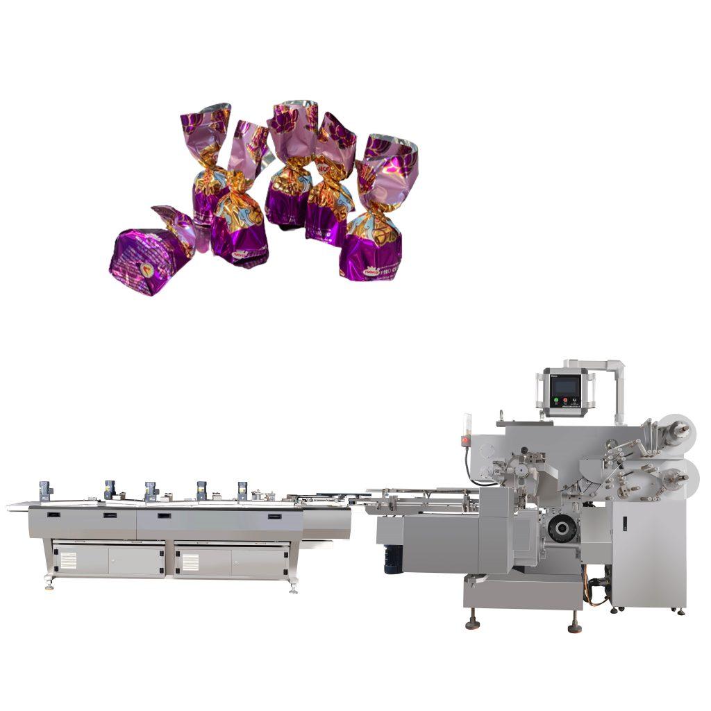 Máy đóng gói kẹo xoắn làm cho viên kẹo được tạo ra với nhiều kiểu dáng khác nhau, mẫu mã đa dạng và chất lượng luôn là vấn đề được quan tâm hơn cả. Máy đóng gói kẹo có đóng gói các dạng bao bì khác nhau như giấy, bọc kính, bọc hỗn hợp,... tùy vào nhu cầu của khách hàng mà ta có thể tạo ra các sản phẩm đa dạng để phục vụ Vậy theo bạn có bao nhiêu loại máy đóng gói kẹo xoắn, cách thức hoạt động và mẫu mã sau khi thành phẩm như thế nào? Hãy cùng máy đóng gói An Thành tìm hiểu chúng như thế nào nhé! Máy đóng gói kẹo xoắn thủ công: Ở máy đóng gói loại này, ta hoàn toàn đóng gói tự thân mình. Với công suất nhỏ, chỉ cần một nhân công là có thể vận hành máy. Được cấu tạo bằng sắt và hợp kim nhôm chống gỉ tốt Ưu điểm: Máy này dễ đầu tư cho các cơ sở vừa và nhỏ, các cơ sở mới kinh doanh vì chi phí không quá lớn. Nhỏ gọn cho việc đặt máy , tiết kiệm được diện tích. Dễ vận hành và hiệu suất ổn định Nhược điểm: Tốn nhiều thời gian để đóng gói, sản phẩm vệ sinh chưa được đảm bảo Máy đóng gói kẹo xoắn thủ công Thông số kỹ thuật máy đóng gói kẹo xoắn thủ công: Kích thước cà vạt xoắn3-8 lần Chiều dài cắt cà vạt xoắn 6cm-12cm Đường kính dây buộc 3mm-12mm Có khả năng Tối đa 40 lần mỗi phút Quyền lực 200w Vôn 110v, 220-250v Kích thước sản phẩm 4mm * 1000m * 0,45mm Cân nặng GW20KGS, NW19KGS. Kích thước 550X230X330cm. Khả năng đóng gói Tối đa 40 lần mỗi phút Cách thức đóng gói Thủ công Máy đóng gói kẹo xoắn 1 đầu: Nhằm tạo ra mẫu mã đa dạng cho thị trường, ta có thể sử dụng máy đóng gói 1 đầu để tạo ra sự khác biệt. Sản phẩm tạo ra nhiều kích thước khác nhau, hình dạng và vật liệu đóng gói đa dạng,... Với 2 lớp vỏ đựng kẹo, đảm bảo được sản phẩm và chắc chắn. Kiểu đóng gói linh hoạt và tương thích với nhiều hình thức khác nhau, tạo ra được nhiều sản phẩm thu hút người tiêu dùng. Máy đóng gói thích hợp kẹo socola, bánh, kẹo,... Máy đóng gói kẹo xoắn 1 đầu Cách thức hoạt động của máy đóng gói kẹo xoắn 1 đầu: Áp dụng PLC, động cơ Servo và màn hình cảm ứng HMI, tích hợp cao và thông minh, dễ