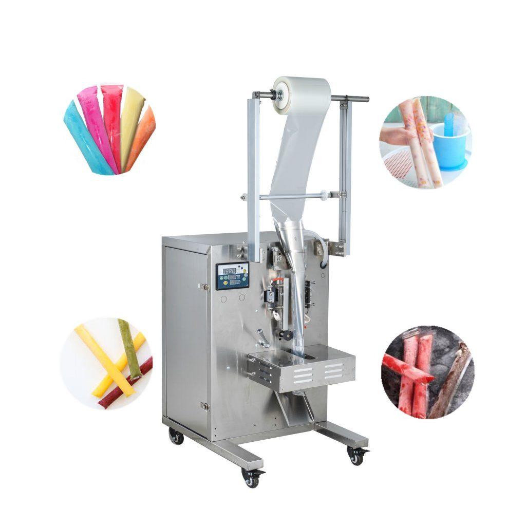 Máy đóng gói kem que được coi là chiếc máy đa năng vì ngoài việc đóng gói kem ta có thể đóng các loại thực phẩm khác như các loại bánh, hạt, bột,.... Là thiết bị đóng gói rất thiết thực trong mùa hè nóng nực này. Không những qua cách đóng gói để đảm bảo được vệ sinh an toàn chất lượng mà còn tạo ra được các dạng mẫu mã phong phú. Quy trình sản xuất và đến khâu đóng gói diễn ra vô cùng khép kín ( Từ khâu chiết rót, vận chuyển, indate, đóng gói, niêm phong,...) Nếu bạn còn thắc mắc chúng vận hành như thế nào, thì hãy tham khảo thử bài viết dưới đây xem có bao nhiêu cách đóng gói kem và khác nhau như thế nào nhé! Sơ lược về máy đóng gói kem hiện nay: Máy là sự kết hợp nhịp nhàng giữa hệ thống cơ khí và hệ điều khiển điện tử. Để tạo nên một chiếc máy hoạt động tự động, ổn định với năng suất cao. Nhiều chiếc máy đóng gói ngày nay sở hữu những hệ thống điều khiển thông minh. Những khả năng thiết đặt theo yêu cầu của khách hàng để phù hợp với nơi sản xuất đã làm nên sự tiện lợi hơn cho dòng sản phẩm máy đóng gói này Máy đóng gói kem bán tự động: Đối với thiết bị này được nhiều cơ sở nhỏ áp dụng để sản xuất vì chi phí đầu tư không quá lớn, cách thức hoạt động đơn giản, nhỏ gọn dễ di chuyển. Máy đóng gói kem bán tự động Nhược điểm: vì là máy bán tự động nên việc sản xuất bằng tay nên số lượng được sản xuất ra không được nhiều. Việc vệ sinh an toàn thực phẩm chưa được quản lý chặt chẽ Mẫu mã bao bì chưa tạo ra được riêng biệt cho sản phẩm Cần nhiều nhân công để có thể hoàn thành việc đóng gói Nâng suất sản xuất chưa cao Không có máy indate nên không biết được ngày sản xuất cũng như ngày hết hạn. Cho nên việc sử dụng kem hết hạn cũng có thể xảy ra Ưu điểm: Cấu tạo máy đơn giản, dễ vận hành Chi phí không quá lớn để đầu tư Nhỏ gọn không chiếm nhiều diện tích Cách thức hoạt động rất đơn giản: Nguyên liệu sau khi được cho vào bao bì bắt cách truyền thống, sẽ được đưa tới máy để đóng gói. Đối với máy đóng gói bán tự động này, chỉ cần mở máy và đưa bao bì cần đóng gói cho nó chạy qu