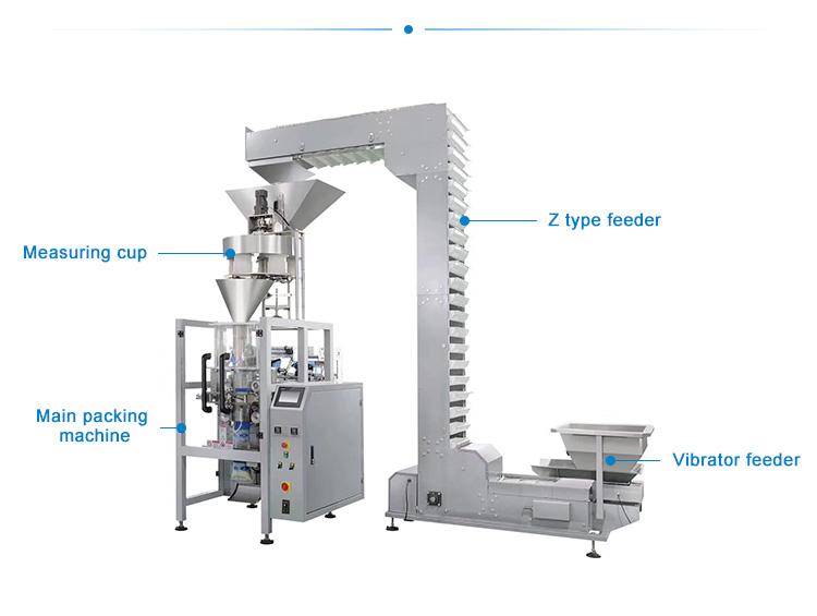 Để phục vụ trong công nghiệp sản xuất, máy đóng gói thường được phân chia theo từng kiểu bao bì, kích thước, kiểu dáng, nguyên liệu sản xuất và bề rộng cuộn màng phím, tương ứng với từng loại sản phẩm. Hệ thống máy đóng gói công nghiệp hoạt động liên tục cho phép dễ dàng chuyển từ kiểu đóng gói bao bì cuộn màng tự động sang đóng gói bao bì dạng ép sẵn hoặc bán tự động, thường được áp dụng đóng gói cho bao bì dạng hạt, bột,…. Máy đóng gói dạng hạt, dạng bột hay dạng lỏng theo quy ước chung đều được thiết kế gồm phần cân định lượng và phần đóng gói, sử dụng hệ thống điều khiển riêng biệt, tính năng hoạt động theo hướng tiên tiến, đảm bảo đáp ứng được mọi yêu cầu trong sản xuất. Là cơ sở chuyên cung cấp các thiết bị máy đóng gói đặc biệt là máy đóng gói dạng bột lâu năm trên thị trường Việt Nam. Các thiết bị máy đóng gói của An Thành nhận được sự tin tưởng của khách hàng bởi thiết kế thông minh hiện đại, máy vận hành an toàn và chất lượng, luôn đảm bảo chất lượng đầu ra tốt nhất trên thị trường hiện nay. Máy đóng gói dạng hạt đứng: Là thiết bị được thiết kế với các chức năng đa năng, thích hợp đóng gói các sản phẩm có kích thước khác nhau như kẹo dẻo, bánh quy, các dạng hạt sau khi được làm sạch, thực phẩm sống, sản phẩm cứng như các dạng bù lon, ốc vít, trái cây sấy,.... Vì đóng gói bán tự động nên ta có thể sử dụng nhiều dạng túi đóng gói khác nhau như túi niêm phong sau, túi đục lỗ, túi hộp, túi dạng đứng, túi zipper, túi dây,.... Máy đóng gói dạng hạt đứng Nguyên lý hoạt động của máy: Sử dụng cơ chế hoàn toàn tự động, khi sản phẩm được chế biến xong và đưa tới dây chuyền máy đóng gói. Máy sẽ tự động cấp túi và gắp túi, mở miệng túi sau đó nạp đầy nguyên liệu vào bên trong. Cuối cùng là hàn ép miệng túi, cho ra sản phẩm bao bì đóng gói đạt tiêu chuẩn chất lượng cao. Hệ thống khay chứa túi của dàn máy này được trang bị rất nhiều ngăn, nhờ đó có thể đặt vào khay chứa số lượng túi lớn, tiết kiệm thời gian, hoàn toàn thay thế sức lao động của con người và vẫn đảm bảo đư